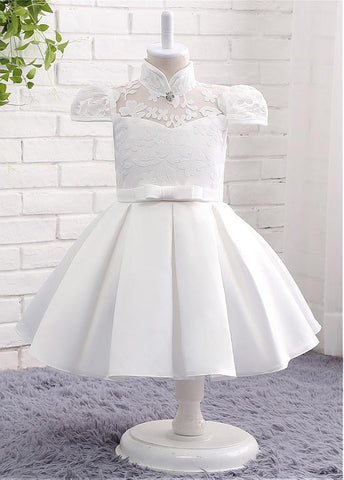 Modest Lace & Satin High Collar Neckline Ball Gown Flower Girl Dresses With Bowknot