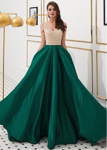 Satin V-neck Green Beading Floor-length A-line Prom Dress
