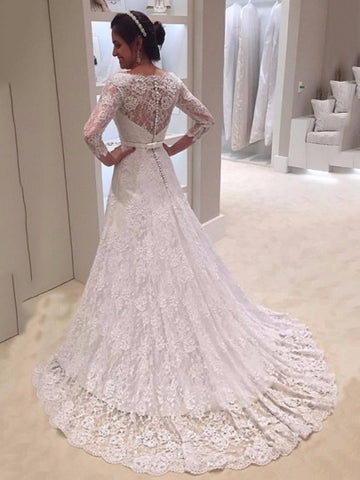 Lace Wedding Dress with 3/4 Length Sleeves