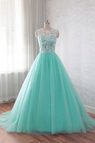 Tulle Buttons Lace Long Green Round Neck Prom Dress