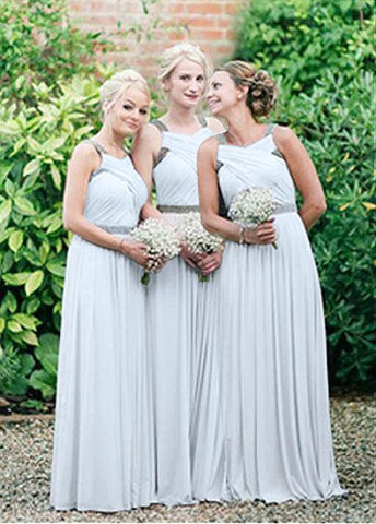 Unique Chiffon V-neck Neckline A-line Bridesmaid Dresses With Beadings