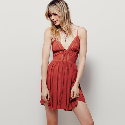 Straps Sexy V Neck Hollow Dress
