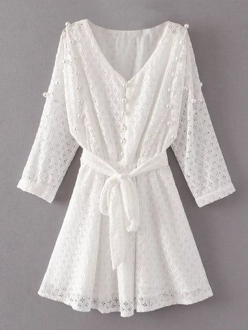 White Mini Beaded Lace Dress
