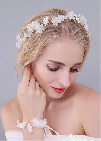 Silk Yarn Wedding Bracelets With Pearls