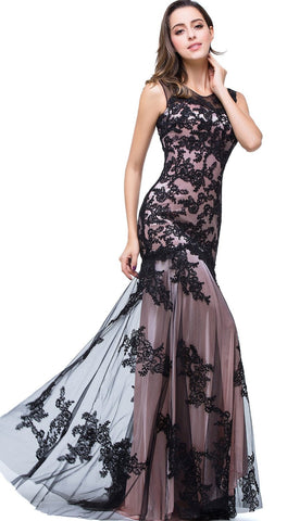 Black lace Applique Evening Dress