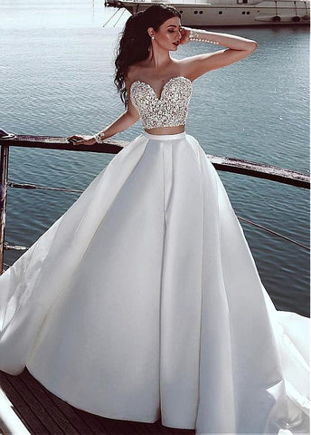 Satin Sheer Jewel Lace Appliques Two-piece A-line Wedding Dress