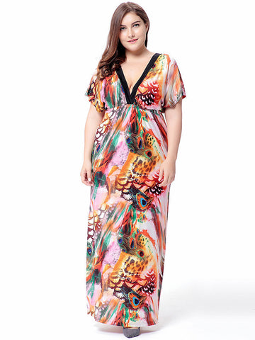 Plus Size Colorful Printed V-Neck High Waist Maxi Dress