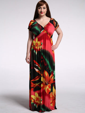 Red Plus Size Floral Printed V Neck Maxi Dress