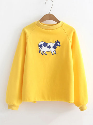 Yellow Cute Cow Print Raglan Sleeve Sweatshirt