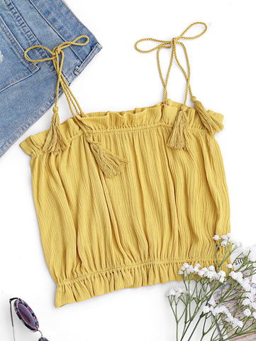 Yellow Cropped Ruffles Tassels Tank Top