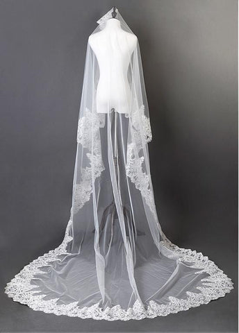 Beautiful Ivory Tulle Cathedral Wedding Veil With Sequin Lace Applique Edge