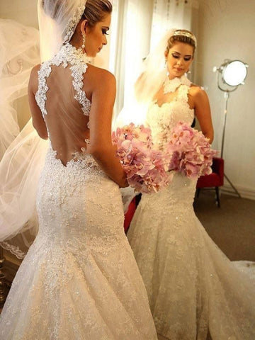 See-Through Tulle Back Sequins Lace Trumpet/Mermaid Wedding Dress