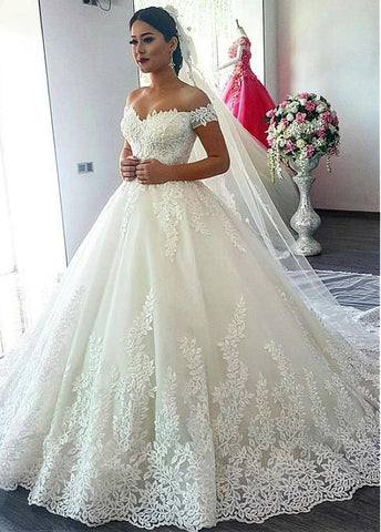 Tulle Off-the-shoulder Neckline Ball Gown Wedding Dress With Beaded Lace Appliques