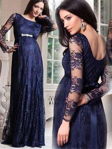 Long Sleeves Lace Crystal Sashes Evening Dress