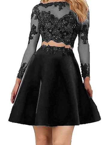 Two pieces Lace Bodice Beads Prom Dresses Long Sleeves Evening Party