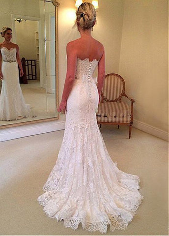 Lace Sweetheart Neckline Natural Waistline Mermaid Wedding Dress With Lace  Appliques U0026 Belt
