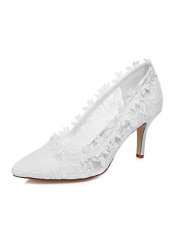 Elegant Satin Upper Closed Toe Stiletto Heels Wedding/ Bridal Shoes With Lace