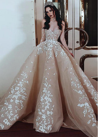 Tulle Off-the-shoulder Champagne Beading Ball Gown Wedding Dress
