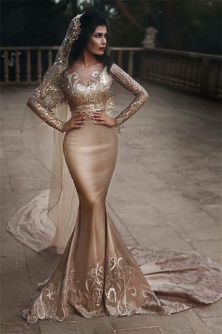 Gold Lace Appliques Two Piece Long Sleeve Mermaid Sexy Wedding Dress