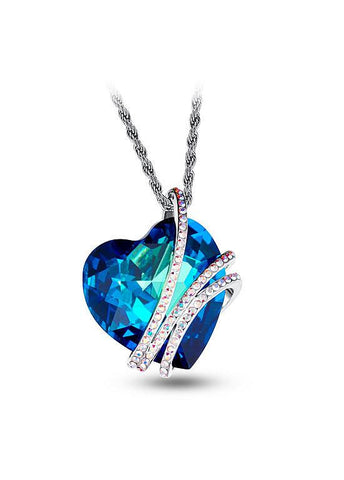 Plated Necklace Austria Crystal Heart Pendant