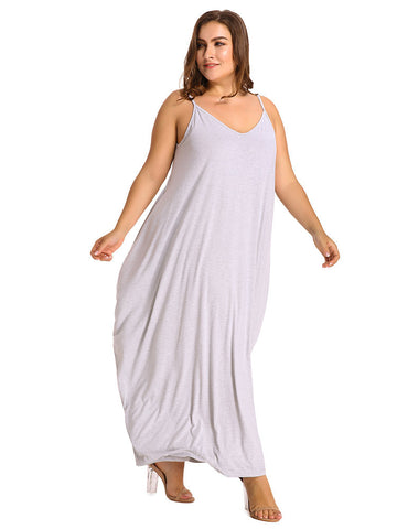 Plus Size V-Neck Strap Backless Solid Color Beach Maxi Dress