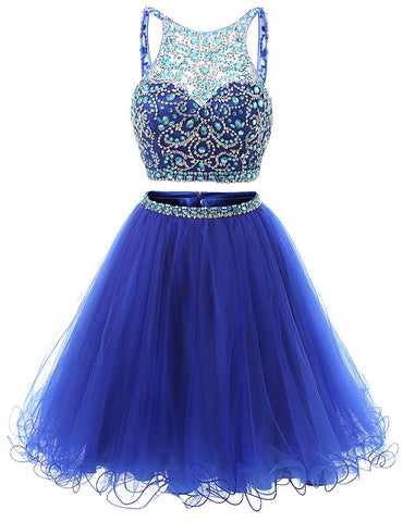 Short Tulle Beading Homecoming Dress