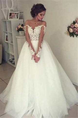Sheer Long Sleeve Lace Open Back Tulle Ball Gown Wedding Dress