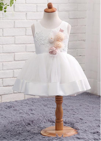 Beautiful Satin & Tulle Scoop Neckline Ball Gown Flower Girl Dresses With Lace Appliques & Handmade Flowers