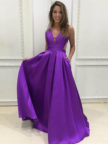 V-neck Purple Ruffles Satin Prom Dresses