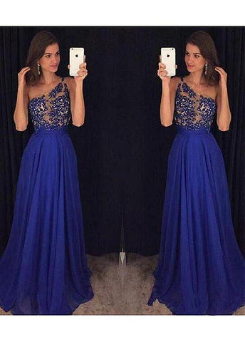 Shining Prom Dress With Beaded Lace Appliques