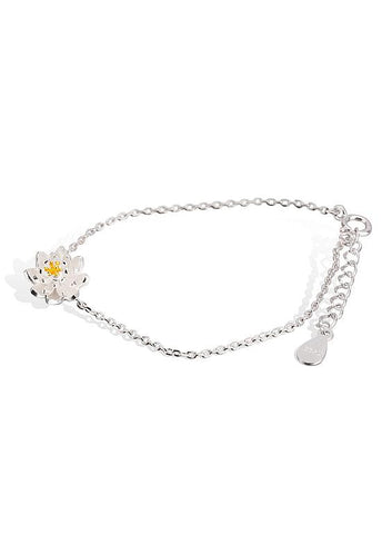 Silver Bracelet with White Lotus Flower