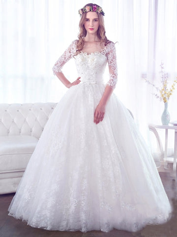 Scoop Neck Half Sleeves Gauze Scoop Neck Beading Wedding Dress