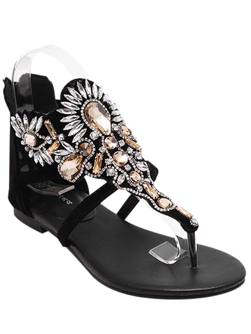Artificial Jewel Black Flat Heel Sandals