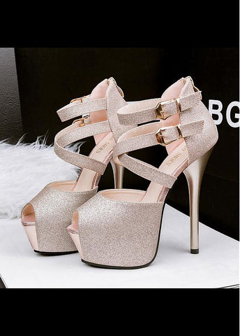 Shimmering Powder Upper Peep Toe Stiletto Heels Party Shoes