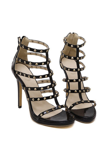 Rivet Black Stiletto Heel Sandals