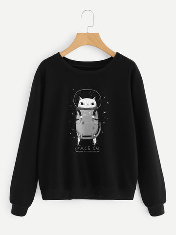 Black Cat Graphic Print Sweatshirt