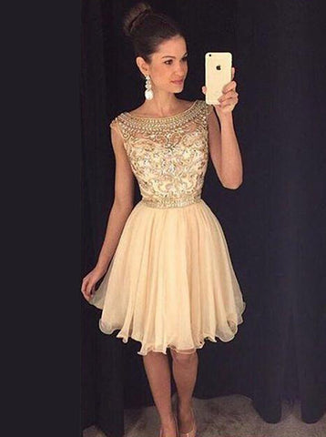 Cap Sleeves Tulle Beaded Short Champagne Homecoming Dress