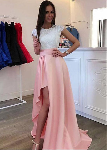 Lace Jewel High Low Pink A-line Prom Dresses With Slit