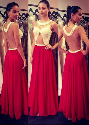 Jewel Neckline A-line Prom Dress