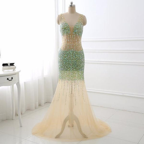 Champagne Beading Sparkle V Neck Mermaid Prom Dress