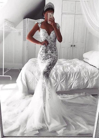 Lace Appliques See-through Tulle Sweetheart Mermaid Wedding Dress