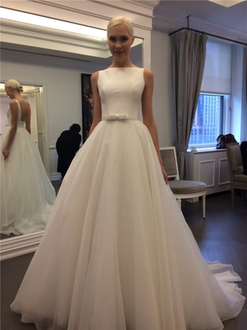 Bateau Neck Backless A-Line Wedding Dress