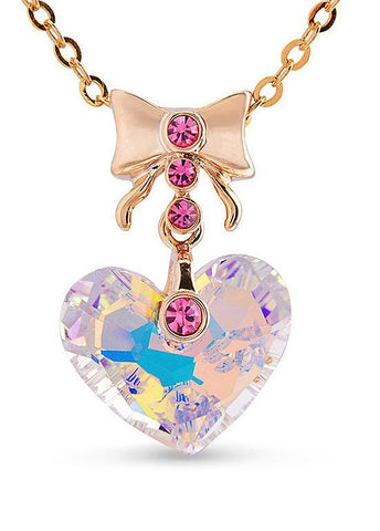 Necklace with Bowknot and Austria Crystal Heart Pendant