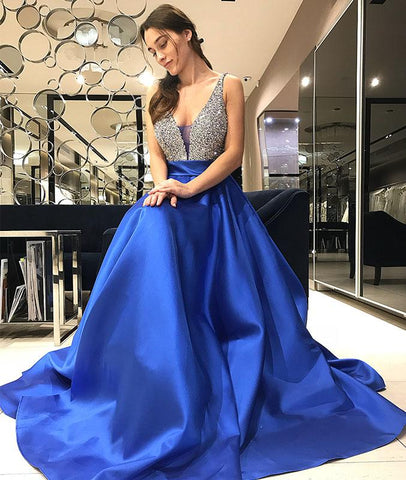 Blue V Neck Sequin Long Prom Dress