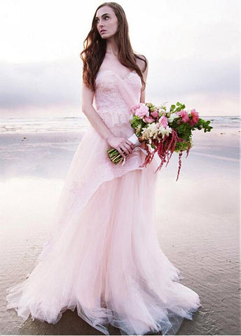 Pink Organza Sweetheart Appliques A-line Wedding Dress