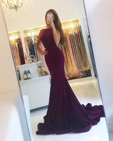 Grape Backless Jersey Mermaid Prom Dress