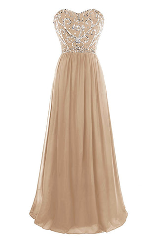 A Line Sweetheart Beaded Lace Up Back Floor Length Evening Dress