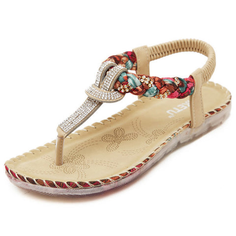 Clip Toe T Strap Slip On Floral Elastic  Flat Beach Sandals