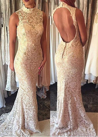 Out-standing Lace High Collar Neckline Cut-out Mermaid Prom Dresses With Beadings