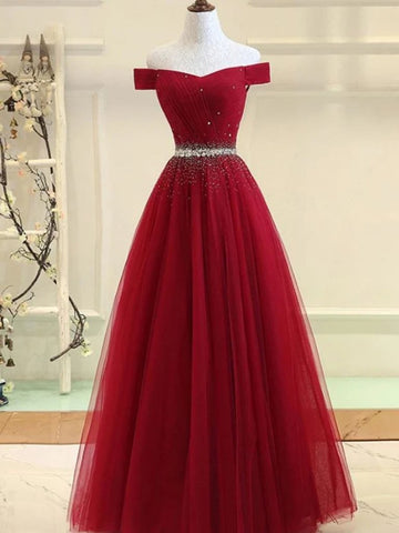 Sequins Burgundy Long Off The Shoulder Prom Dress